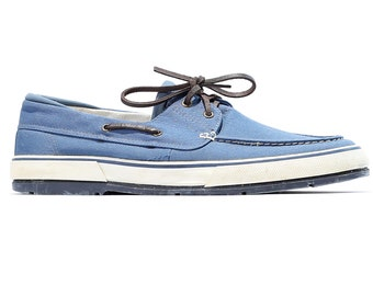 Vintage Canvas Sneakers 80s Blue White Boat Shoes Top Sider Lace Up Loafers High Quality Footwear sz Eur 44, Us men 10 Uk 9 5