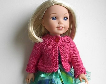 14.5 Inch Doll Clothes Knit Sweater with Long Sleeves Handmade to fit the Wellie Wishers and other similar dolls - Rosy Pink