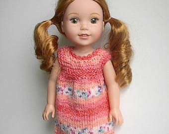 "14.5"" Doll Clothes Knit Dress Handmade to fit Wellie Wishers dolls - Peach Jacquard Summer Dress - Ready to Ship"