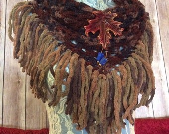 Dark Autumn Maple cowl... knit crocheted fringed yarn soft scarf leather tie bohemian boho