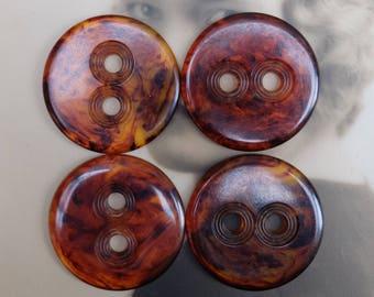 Vintage Bakelite Tortoiseshell Buttons Large Coat Size Set of Four