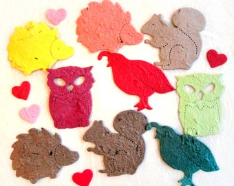 100 Plantable Woodland Wedding Confetti Party Favors - Flower Seed Paper Confetti Squirrels Owls Quail Hedgehogs - Free PDF Template