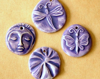 4 Handmade Ceramic Pendants in Purple Lavender - Face, Dragonfly, Poppy Flower and Butterfly - Handmade Beads - Spring Charms - Boho