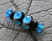 Turquoise Black Poked Dot Pair Lampwork Beads by Cherie Sra R114 Earring Pair Flameworked Glass Beads Black Pair Lampwork Silver Glass Dots