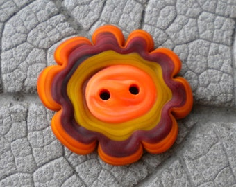 Warm Tone Multi Color Two Hole BUTTON Lampwork Beads by Cherie Sra R114 Flamedworked Glass Button Orange Red Mustard Etched Two Hole Button
