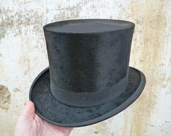 Vintage Antique 1900 old French men top hat black silk plush size 6 7/8