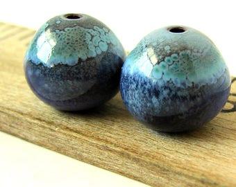 Purple Enamel Round Copper Beads