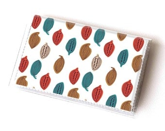 Vinyl Card Holder - Cocoa Beans / chocolate, cocoa, happy, colorful, card case, vinyl wallet, women's wallet, men, small, handmade, retro
