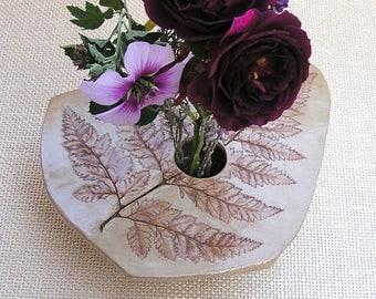 Ceramic Fern Vase . Handmade Pottery