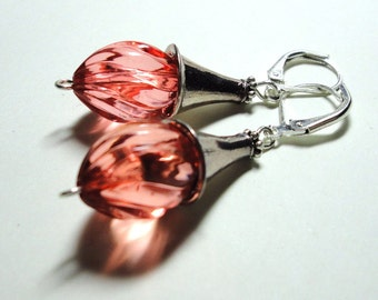 Pink Vintage Acrylic Swirl Beads with Silver Trumpet Bead Caps and Leverback Ear Wires