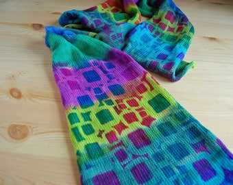 Single Knit Sock Blank- Block Head- stripes of teal,violet,aqua and lime green with stenciled block pattern in pink and turquoise