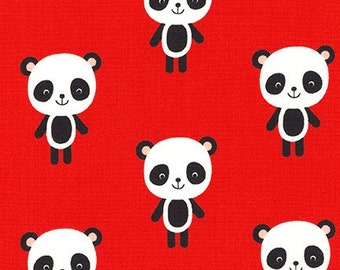 Urban Zoologie Panda's on Red by Ann Kelle for Robert Kaufman - 1 Yard
