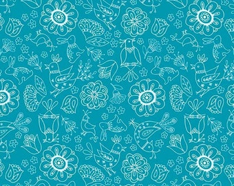 Blue Floral from Riley Blake's Dutch Floral Collection, Yard