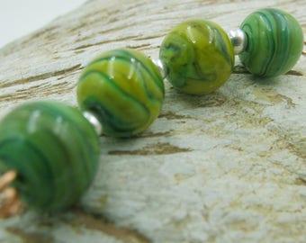 Green Swirl Round Lampwork Beads Handmade SRA