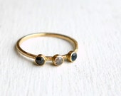 Blue Sapphire, Champagne Diamond, Black Diamond - Handmade in 14k Gold with 18k yellow Bezels
