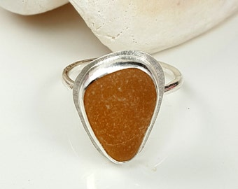 Sea Glass Ring Sea Glass Jewelry Amber Honey Brown Sea Glass Ring Size 8 - R-129