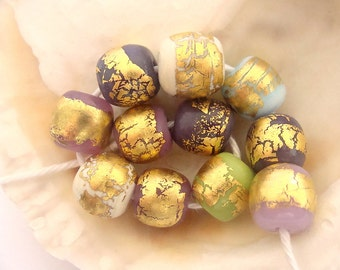 11 Golden Handmade Lampwork Beads