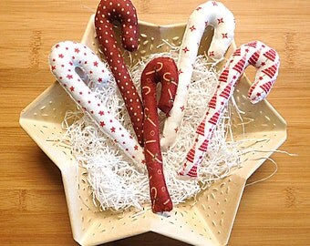 Primitive Candy Cane Ornaments Bowl Fillers Christmas Holiday Decorations