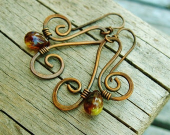 Hammered Copper and Czech Picasso glass bead wire wrapped dangle earrings