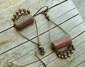 Red Stone Rollers with antiqued copper - wire wrapped earthy chain and bead dangle earrings