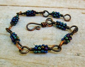Iris Blue Seed Bead Wire Wrapped hammered copper links bracelet