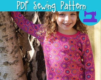 PDF SEWING PATTERN - Practically Perfect Girls T-Shirt Pattern - Henley pattern, shirt pattern, knit shirt pattern, pullover shirt