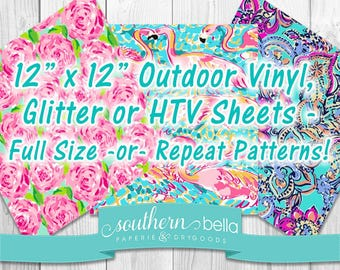 "Inspired Floral Lily Hibiscus Beach Adhesive Vinyl Heat transfer Outdoor Vinyl HTV or Glitter HTV Full Pattern, 6"" and 3"" Repeats LPU1703"