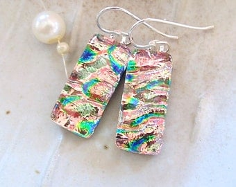Peach Earrings, Pink, Green, Blue, Dichroic Glass Earrings, Glass Jewelry, Dangle, A4
