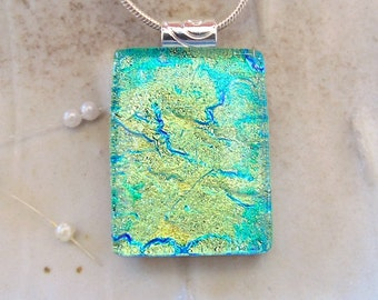 Green Necklace, Dichroic Pendant, Necklace, Glass Jewelry, Gold, Necklace Included, A7