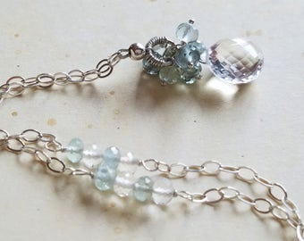 Moss Aquamarine, Crystal Quartz, Sterling Silver Necklace, Handmade Jewelry