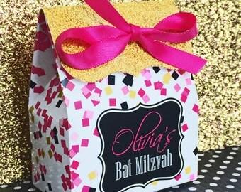 Confetti favor box, Personalized favor Box, Bat Mitzvah Favor box, birthday party favors, Candy Buffet box, Sweet Sixteen, Treat box