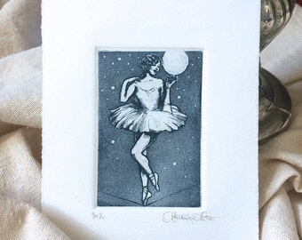 Fine Art Etching Print - High Wire - in Indigo