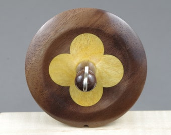 Top whorl drop spindle in Walnut and Yellowheart
