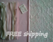 FREE Ship DIY Fabric +Notions Baby Pink & Cream for 1 BRA + Panty by Merckwaerdigh