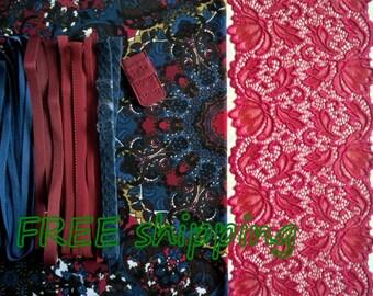 FREE Ship DIY Fabric + Notions Geometric Cobalt & Red Relief for 1 BRA + Panty by Merckwaerdigh
