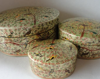 Vintage 3pc Lacquered Paper Mache Nesting Box Set Oval Trinket Exotic Birds Kashmir India Handpainted Hostess Gift Keepsake Treasure Dresser
