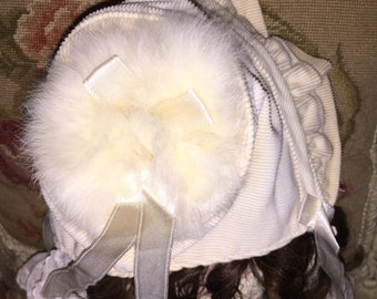 Antique Baby Hat with Fur