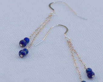 Nile: Lapis Lazuli and Sterling Silver Mother and Child Earrings