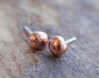 Copper Stud Earrings - Recycled Copper Post Earrings
