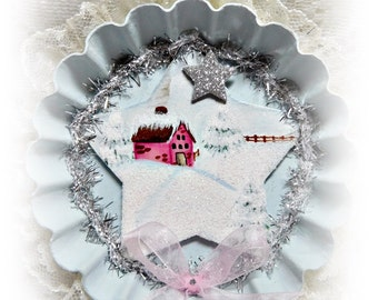 Winter Snow Scene, Vintage Round Tart Pan, Hand Painted and Created with Embellishemtns, Christmas Tree Ornament, ECS