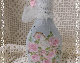Shabby Rose Bottle Art, Powder Blue with Bird in the Roses, Hand Painted, Embellished, Decorative, Collectible, Home Decor Accent, ECS