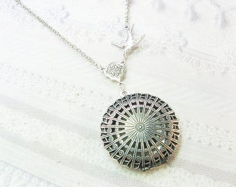 Silver Locket Necklace -  Silver Filigree Scent Locket - Mothers Day Jewelry by Birdznbeez
