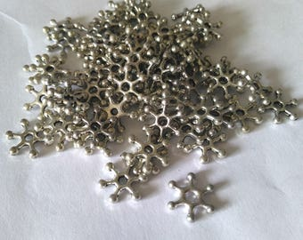 50pc antique silver finish 10mm metal beads/spacers-OFF2#7