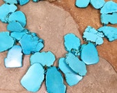 Big bold chunky turquoise blue howlite slab bead necklace