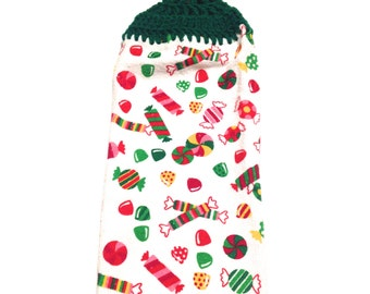 Christmas Candy Hand Towel With Paddy Green Crocheted Top