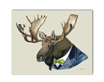Moose art print 8x10 - Berkley Bestiary - Dapper Animals - Nursery Art - Kid Decor - Ryan Berkley - Berkley Illustration - Animal Portrait