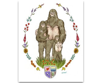 Sasquatch Family of Four art print by Ryan Berkley 8x10