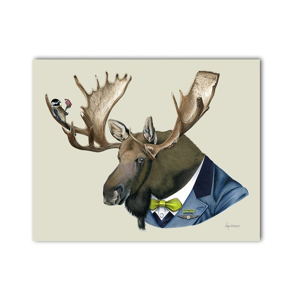 Moose art print 8x10 - Berkley Bestiary - Dapper Animals - Nursery Art - Kid Decor - Ryan Berkley - Berkley Illustration - Animal Portrait