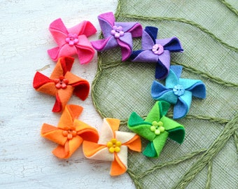 Pinwheel appliques, felt pinwheel, pinwheels for crafts, pinwheel flowers, pinwheels for headbands (set of 8pcs) - RAINBOW OF PINWHEELS