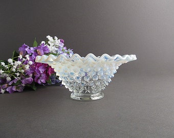 Vintage Opalescent Hobnail Bowl, Hobnail Dish, Fenton Art Glass, Wedding Candy Bar Dish, Wedding Table Decoration